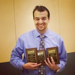 Claiming my three KAB awards in Salina, KS on April 2014.