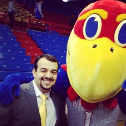 Hanging out with Big Jay before KU plays West Virginia in 2014.