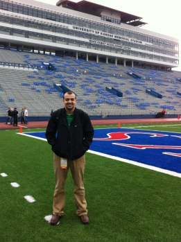 Hanging out at Memorial Stadium before a KU football game.