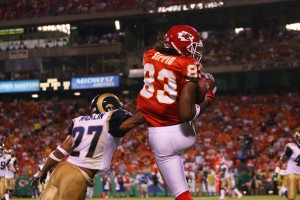 Bobby Sippio scores a touchdown in Week 4 of the 2008 preseason against the Rams. This was his last time wearing a Chiefs uniform.