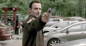 Andrew Lincoln stars as Rick Grimes. Here he is in a bizarre opening scene of The Walking Dead.
