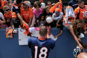 It is safe to say Peyton Manning is the most popular player at Broncos training camp.